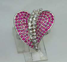 18k WHITE GOLD INTENSE RUBY & DIAMOND UNIQUE ART DECO MODERN HEART RING