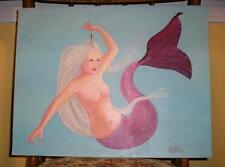 MERMAID FISHING BAIT HOOK ARTISTIC NUDE PINK TAIL LISTED ARTIST OCEAN PAINTING