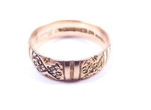 Rose gold wedding ring antique 9 carat gold Patterned O1/2 Birmingham 1897