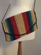 Ladies true vintage rainbow multi stripe straw shouder bag