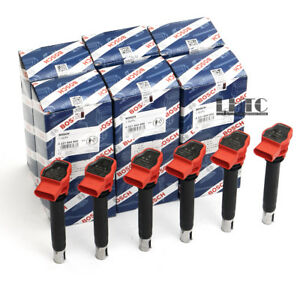 6x Ignition Coils Pack Spark Plug BOSCH Red For PORSCHE Audi S5 A7 Q7 3.0 TFSI