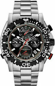 Bulova Men's Precisionist Chronograph Black Dial Rotating Bezel Watch 98B212