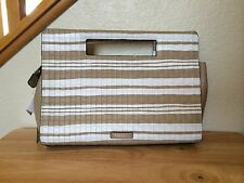 NWT Coach Bleecker Embossed Woven Fawn / White Leather Riley Pocket Clutch 51640