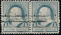 PAIR Of 1890 EFO FLAME @ 1's US 1 CENT Blue Ben Franklin Cancel XF STAMPS #219v