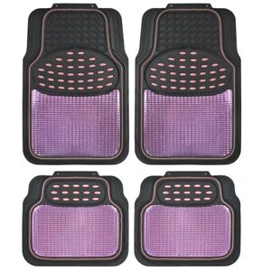 Motor Trend Premium Metallic Heavy Duty 4PC Rubber Car Floor Mats 2-Tone Pink