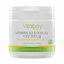 Vitamina D3 5.000 I.U + Vitamina K2 Menaquinona Mk7 200 mg Polvo Vegano 365 P...