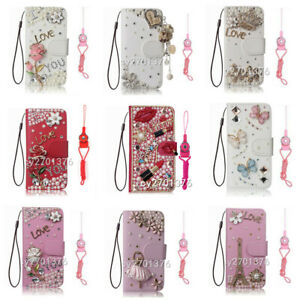 Glitter Luxury Diamond Bling Stand Case Leather Wallet Cover for MOTO with Strap