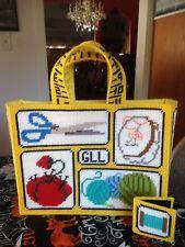 Large Crochet Knitted Embroidery Craft Bag Handbag Tote Pocketbook Handle & Book