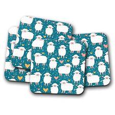 4 Set - Counting Sheep Coaster - Cute Lambs Love Hearts Mum Auntie Gift #14792