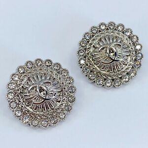 One Pair Authentic CHANEL Button, Stamped Silver Metal 20mm Designer Art Buttons