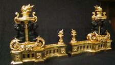 Pair Antique Bronze gild French Fireplace Chenets Andirons 18th. Century