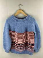 Vintage Women's Hand Knitted Long Sleeve Jumper - Size Small - Light Blue/Pink
