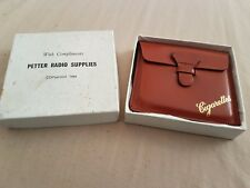 Vintage Leather Cigarette Case, with Compliments from Petter Radio Supplies