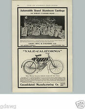 1905 PAPER AD Yale California Motorcycle Motor Cycle Toledo Ohio