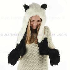Trooper Trapper Ski Cap Hat Bomber Faux Fur Animal Hood Gloves Panda Black White