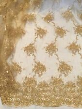 "GOLD  CORDED EMBROIDERY SEQUIN MESH LACE FABRIC 50"" WiIDE 1 YD"