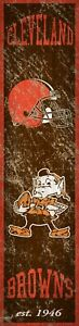 """Cleveland Browns Heritage Banner Retro Logo Wood Sign New 6"""" x 24"""" Wall Est 1946"""
