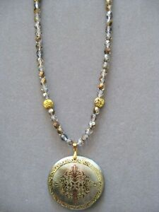 Beautiful Round Carved Shell Pendant Necklace with Crystal and Gold Beads