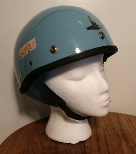Vintage Buco Traveler Shorty Motorcycle Half-Helmet Custom Baby Blue Adjustable