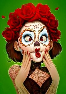 """SUGAR SKULL Edible Cake Topper 7.5"""" x 10"""" RECTANGLE Day of the Dead FISH FACE"""