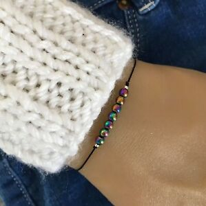 4mm Natural Rainbow Hematite Crystal Energy Tie Cord Bracelet/Anklet