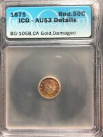 1875 Over 3 Round 50 Cents Half Dollar Liberty Head Brean BG-1058 CAL Gold
