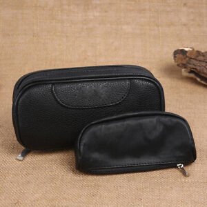 Black Portable Smoking Pipe Storage Case/Bag Holds For 2 Pipes + Tobacco Pouch