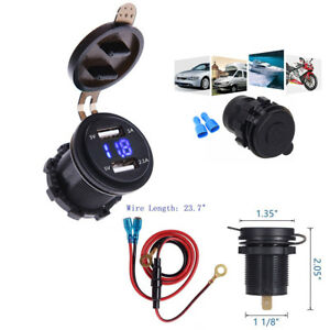 3.1A Blue LED Voltmeter Dual USB Charger+Wire Waterproof for Motorcycle Car Boat