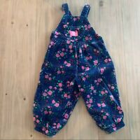 OshKosh Vintage Floral Bubble Corduroy Overalls Baby Girls Size 24 Months Spring