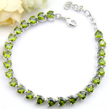 Love Heart Shaped Natural Shiny Olive Peridot Gems Solid Silver Charm Bracelet