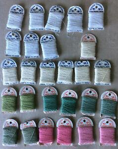 Lot of 27 card Ginnie Thompson flower cotton thread pink green white ivory linen