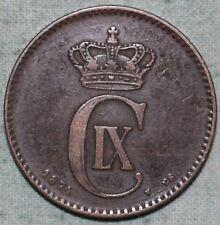 1874 Denmark 2 Ore Km#793.1 Bronze Porpoise Barley Ear