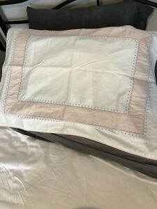 pottery barn Pink And White Teen Pillow Sham With Embroidery- SO PRETTY