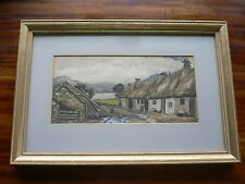 Watercolour Painting Arthur Thomson R.A. (1858-1935) Lake with Cottages 1877