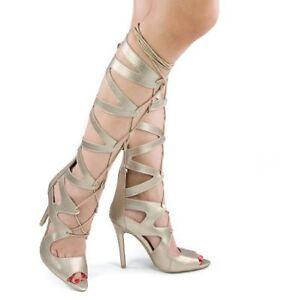 Qupid Women's Frasier-12 Gladiator Boot / Open Toe Sandal - Gold