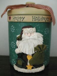 """Awesome Christmas COOKIE JAR Applied Clay Canister Santa Snowflakes 10½"""" H EUC"""