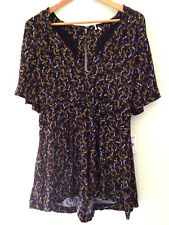 NWT Free People Beautiful Black Combo V-Neck Sexy Retro Romper Suit 8 $128
