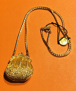 Vintage Judith Leiber Gold Plated Crystal Purse Bag Pendant Chain Necklace