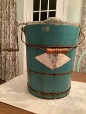 Vintage Ice Cream Churn Maker Hand Crank Wood Bucket Turquoise