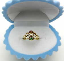 Estate 14k Yellow Gold 3-stone multi color Filigree Ring size 6