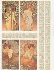 Carta di riso per Decoupage Scrapbook Craft sheet Mucha Collection