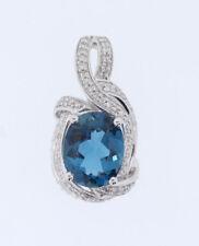 48259452de6c Nuevo 14k Oro Blanco 3.0ct Ovalado London Topacio Azul   .30ct Redondo