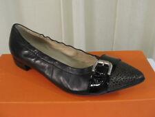 NIB AGL Buckle Point Toe Leather Ballet Flats 37.5/US 7.5 Black ATTILIO GIUSTI