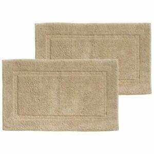 "mDesign Soft Cotton Spa Mat Rug for Bathroom - 34"" x 21"", 2 Pack - Linen/Tan"