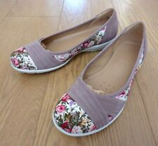 Hotter Natasha Ladies Vintage Floral Truffle Textile Nubuck Shoes Size UK 5.5