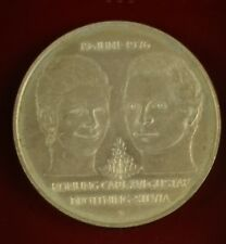 Swedish silver coin KIng Carl Gustav Queen Silvia 1976