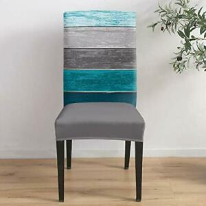 Dining Room Chair Covers Set of 6 Vintage Blue Teal Gray Colorful Stripe Country