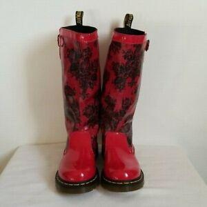 Dr Marten Nellie Red Patent Rain Boot Red Black Size 6 US 37 EU