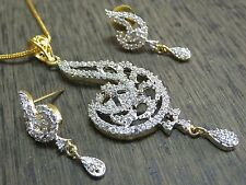 Diamond Dangler Pendant Earring Set Beautiful Party Wear Design Simulated Cubic