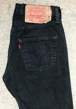 Levis 501 Denim Jeans! da UOMO W30/L30 nero gamba dritta!! Scheda rosso!